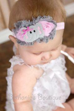 Shabby Chiffon Elephant headband, cutest thing I have ever seen!!!! :D: