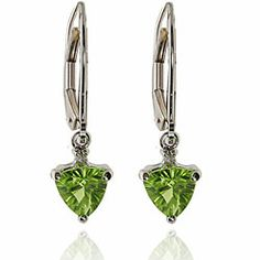 Michael Valitutti 14k White Gold Peridot and Diamond Earrings