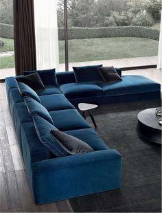 New living room decor big sofas ideas Blue Corner Sofas, Corner Sofa Living Room, Living Room Sofa Design, New Living Room, Interior Design Living Room, Living Room Designs, Living Room Decor, Big Corner Sofa, Corner Sofa Modern