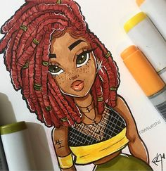 pictures to draw, green eyes, red hair, girl drawing, colored markers # for Black Love Art, Black Girl Art, Art Girl, Black Girls, Black Women, African American Art, African Art, Christina Lorre Drawings, Natural Hair Art