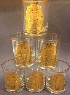 Set of 6 Culver 22K Gold Egyptian King Tut Glasses by Dust2Den, $68.00