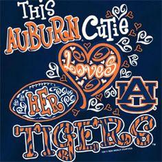 auburn tigers football t-shirts | Auburn Tigers Football T-Shirts - Auburn Cutie Loves Her Tigers