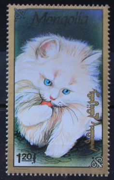 Turkish angora - Mongolia, 1991 by Кот Ученый Pedigree Cats, Turkish Van Cats, Cat Doodle, Japanese Cat, Coin Art, Cat Quotes, Here Kitty Kitty, Stamp Collecting, Postage Stamps