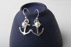 Antique Silver ancre et perles Boucles par BijouxKarmaJewelry