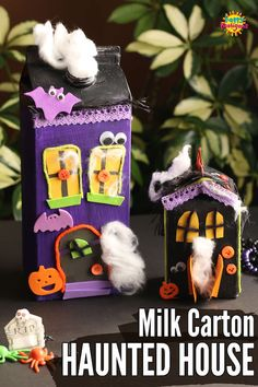 A milk carton haunted house is a fun and easy (and adorable) Halloween craft for kids of all ages. All you need is a cardboard milk carton and a few scraps from the craft cupboard. Make one or two, or a whole haunted village to line a windowsill in your home or classroom. #HappyHooligans #Halloween #Craft #Kids #Haunted #House #Milk #Carton #Easy #Spooky #KidsCraft #KidsArt