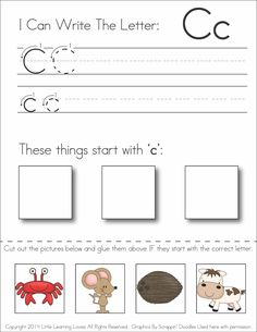 {Subscriber Exclusive Freebie} - Letter C: Write, Cut & Paste  This is a #free #printable #preschool worksheet for learning the letter C!  ENJOY!  (never expires)