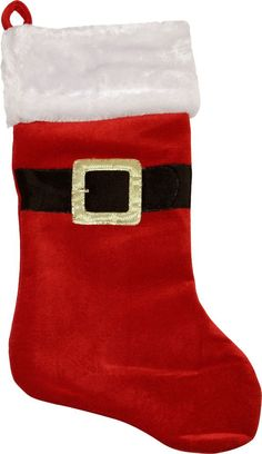 Traditional Velveteen Santa Claus Belt Buckle Christmas Stocking