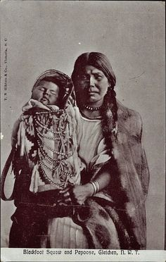Mother and child near Gleichen, Alberta, Canada - Niitsitapi (Blackfoot) Nation - 1900