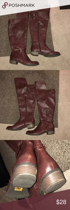 Gorgeous burgundy riding boots 8.5 BC brand burgundy riding boots. Zip up side, buckle back. Pre-loved in great shape. Size 8.5. Fit true to size. Love the color. Minimal signs of wear as shown in photos. Check out my other listings to bundle and only pay shipping once! BC Footwear Shoes Over the Knee Boots