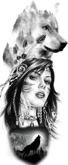 Warrior Tattoos, Wolf Tattoos, Lion Tattoo, Girl Tattoos, Indian Women Tattoo, Indian Tattoo Design, Tattoos For Women, Wolf Tattoo Sleeve, Arm Tattoo