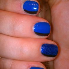 Blue and black gelish nail art! By queennaildiva ! Mobile beauty services available! Just email tntlookindynamite@gmail.com