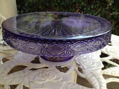 Purple Amethyst Depression Glass Cake Pedestal by TheFlyingHostess
