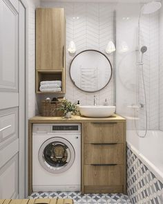 Beautiful master bathroom decor some ideas. Modern Farmhouse, Rustic Modern, Classic, light and airy master bathroom design suggestions. Bathroom makeover tips and bathroom renovation tips. Small Apartments, Small Spaces, Small Apartment Design, Studio Apartment, Lighting Concepts, Lighting Ideas, Laundry Room Design, Bathroom Interior Design, Bathroom Designs