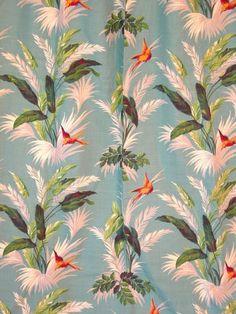 Vintage 30s 40s Barkcloth Fabric Panel Tropical Hawaiian Print Birds Ferns 2of2