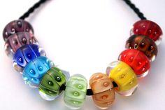 Rainbow Lampwork Handmade Glass Bead Necklace by juliechristie, $115.00