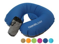 Trekology Ultralight Travel / Neck Air Pillows for Airplane, Compact Head and Neck Support Pillow, Travel Accessories as a Headrest, Neck Cushion for Best Sleep while Travelling