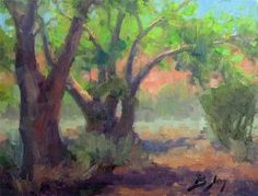 6x8 oil landscape from Zion of the cottonwood trees