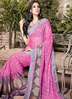 Pretty Pink & Brown Floral Printed Faux Chiffon With Patch Border Work Bollywood Designer Sarees, Indian Designer Sarees, Latest Designer Sarees, Latest Sarees, Bollywood Saree, Designer Sarees Collection, Saree Collection, Chiffon Saree, Casual Saree