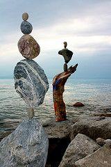 Balancing - April 30, 2010 | by Heiko Brinkmann Rock Sculpture, Metal Sculptures, Abstract Sculpture, Stone Balancing, Art Et Nature, Ephemeral Art, Balance Art, Environmental Art, Outdoor Art