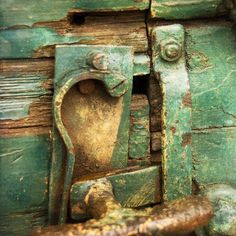 """Item Description: Original Photograph, by Joan Schulte, entitled, """"Rail Car Latch."""" The image features a close-up of an aged and distressed wood rail car and rusty latch. It is hand transferred onto a hand-crafted, 5.5""""x5.5""""X1.25"""" square box panel (or support) and is made from locally sourced (in Louisville, Ky) reclaimed wood, (such as doors or discarded shelves.)    Here is Joan's Artist Statement regarding her process: """"My photographic transfers begin as an original photograph taken with…"""