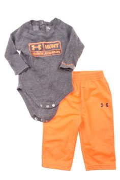 d84de474 USED Under Armour Baby Boy's Outfit 3-6 Months Gray & Orange Under  Armour
