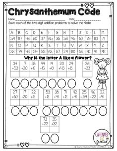 Chrysanthemum Name Activities and Lesson comes with a variety of educational and. Math For Kids, Fun Math, Maths, First Week Of School Ideas, School Fun, 1st Grade Worksheets, School Worksheets, Math Enrichment, Literacy