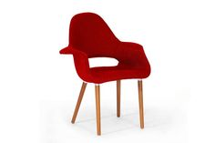 Baxton Studio Forza Red Twill Mid-Century Style Accent Chair-set of 2