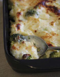1 pieni kukkakaali 1 pieni parsakaali vettä suolaa kastike: 2 rkl margariinia tai voita 1-2-sipulia 3 rkl vehnäjauhoja 3-4 dl maitoa ja kaalin keitinlientä suolaa valkopippuria 2 dl juustoraastetta 1.