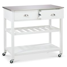Threshold™ Stainless Steel Top Kitchen Island   White | Basement Refresh |  Pinterest | Steel, Kitchens And Apartments