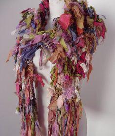 Tattered Earthy handknit Recycled Sari Silk  Scarf by plumfish via Etsy.