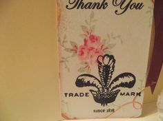 Six Gift Tags With  Word  Thank You Adorn With Rose by mslizz, $5.00