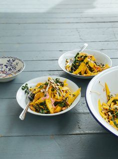 mango salad with rhubarb ginger dressing + chili almonds