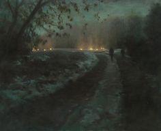 Route de nuit, hiver oil on canvas, 81x100cm, 2011 Helene Delmaire