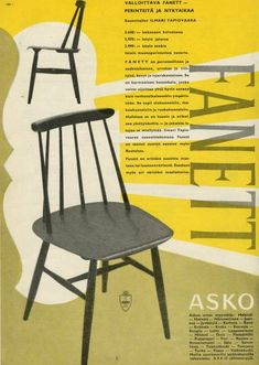 Fanett by Ilmari Tapiovaara 50s Furniture, Furniture Design, Nordic Design, Scandinavian Design, Eames, 1970s Decor, Old Commercials, Old Ads, Cozy House