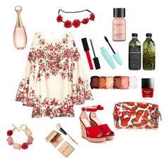 """rosey posie"" by eliyanakubelis on Polyvore featuring Gucci, Jimmy Choo, NYX, AMBRE, Perricone MD, Bobbi Brown Cosmetics, Christian Dior and Oscar de la Renta"