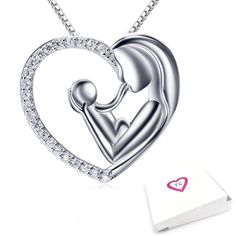 925 Sterling Silver Mother And Child Heart Pendant Necklace 18