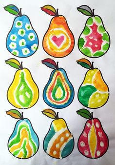 I like this idea for almost any type of design - The ImaginationBox: free printable pears template - these were decorated using white oil pastel and watercolour paints Classroom Art Projects, Art Classroom, Autumn Crafts, Autumn Art, Colouring Pages, Coloring Pages For Kids, Crafts For Kids, Arts And Crafts, Fruit Art