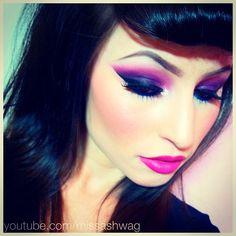 Pink and purple eye makeup x