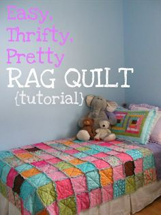 easy rag quilt ~ diy sewing project ~ The Complete Guide to Imperfect Homemaking: Easy, Thrifty, Pretty Rag Quilt {Tutorial} Quilting Projects, Sewing Projects, Quilting Ideas, Fabric Crafts, Sewing Crafts, Scrap Fabric, Sewing Diy, Crafts To Do, Diy Crafts