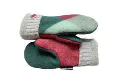 Green Wool Mittens Women's Mittens Recycled Wool by SweatyMitts