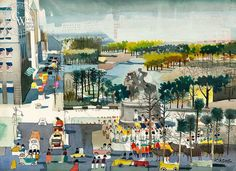 Central Park Parade, c. 1969, California art by Dong Kingman. HD giclee art prints for sale at CaliforniaWatercolor.com - original California paintings, & premium giclee prints for sale