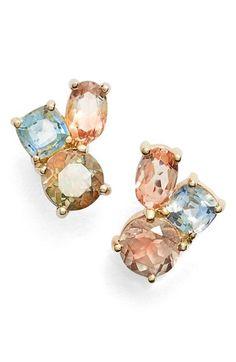 MOCIUN Oregon Sunstone & Sapphire Cluster Earrings available at #Nordstrom