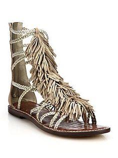 813e3e2fb1bcc Sam Edelman - Gisela Fringed Metallic Leather Gladiator Sandals