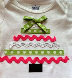 Ribbon Christmas Tree Onesie,babys first Christmas,Christmas Onesie, baby…