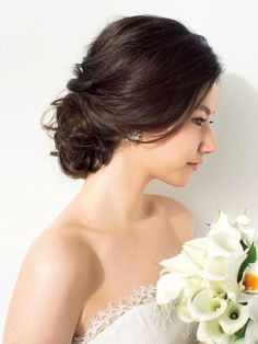 Pin by satomi on hairdo Dress Hairstyles, Party Hairstyles, Bride Hairstyles, Trendy Hairstyles, Bridal Hair Pins, Bridal Hair And Makeup, Hair Makeup, Wedding Party Hair, Hairdo Wedding