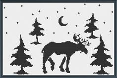 digital cross stitch pattern - a simple silhouette of a moose as he strolls through the woods at night.