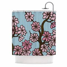 Cherry Blossom Day by Art Love Passion Floral Illustration Shower Curtain