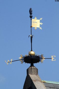 Weather vane dated 1666 atop Stone Library at Peacefield. Quincy, MA.