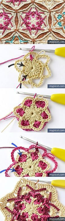 Discover thousands of images about Mandala: Crochet Motifs. Crochet Motifs, Crochet Blocks, Crochet Stitches Patterns, Crochet Art, Crochet Squares, Love Crochet, Irish Crochet, Crochet Doilies, Granny Squares