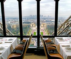 Le Jules Verne, Paris  The View: From its perch on the Eiffel Tower's second level, 410 feet above the ground, Le Jules Verne offers expansive views of the City of Light. Look out of bay windows over wide boulevards and slate gray rooftops at lunchtime, or go in the evening to see Paris's twinkling lights.